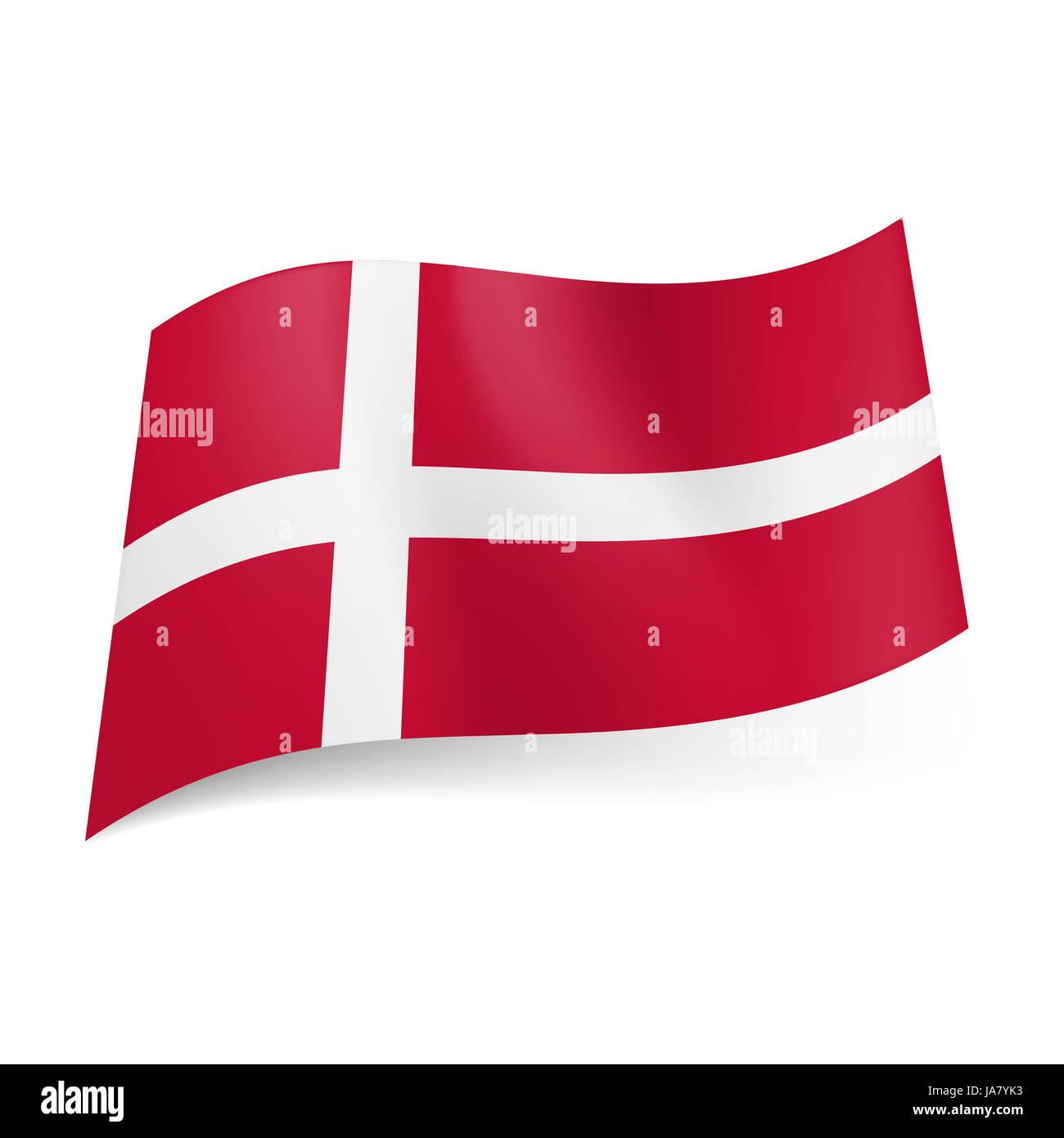 Bandiera Nazionale Della Danimarca Bianca Croce Scandinavo Su