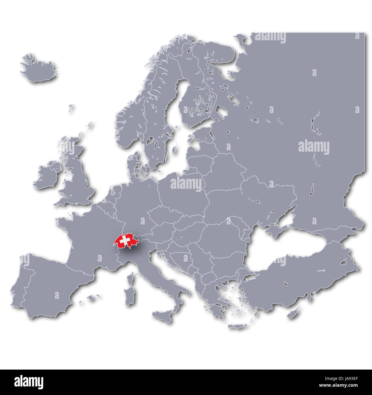 La Svizzera Cartina.Mappa Di Europa Con La Svizzera Foto Stock Alamy