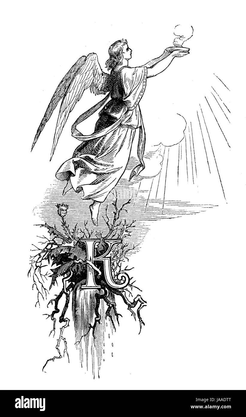 Ornati in tipografia, iniziale 'K' con angelo ascendere al cielo Immagini Stock