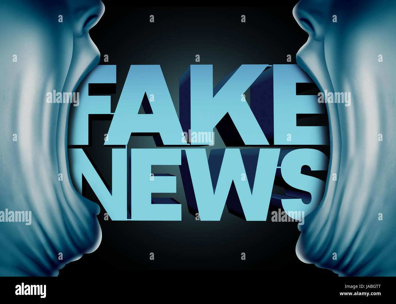 Fake news concetto di reporting e falso reportage giornalistici da fonti anonime come persone con bocche aperte Immagini Stock