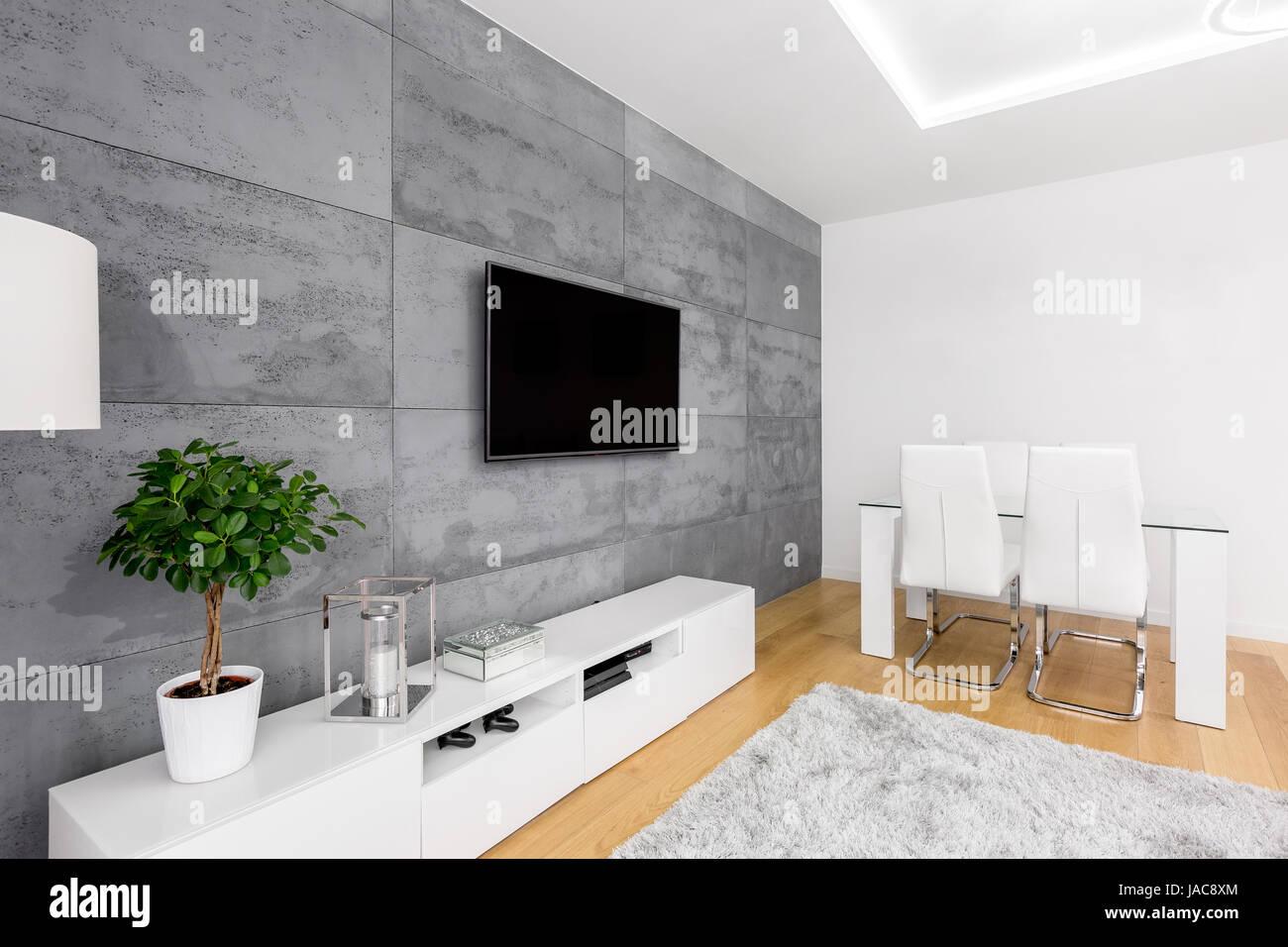 Soggiorno moderno con una decorazione parete in cemento, tv, armadio ...