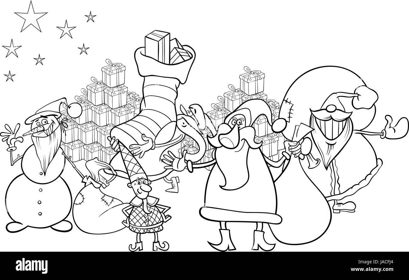 Immagini Di Babbo Natale In Bianco E Nero.Bianco E Nero Cartoon Illustrazione Di Babbo Natale Con Il
