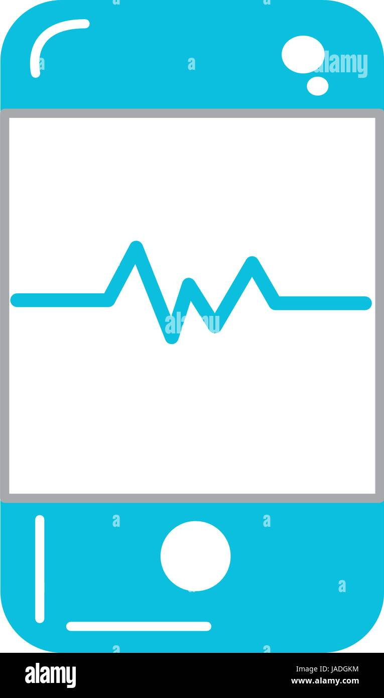 La tecnologia dello smartphone con il ritmo cardiaco Illustrazione Vettoriale