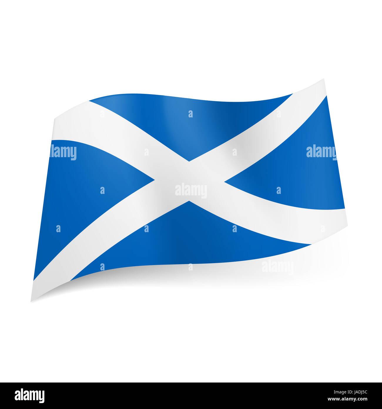 Bandiera Nazionale Della Scozia La Croce Bianca Su Sfondo Blu Foto