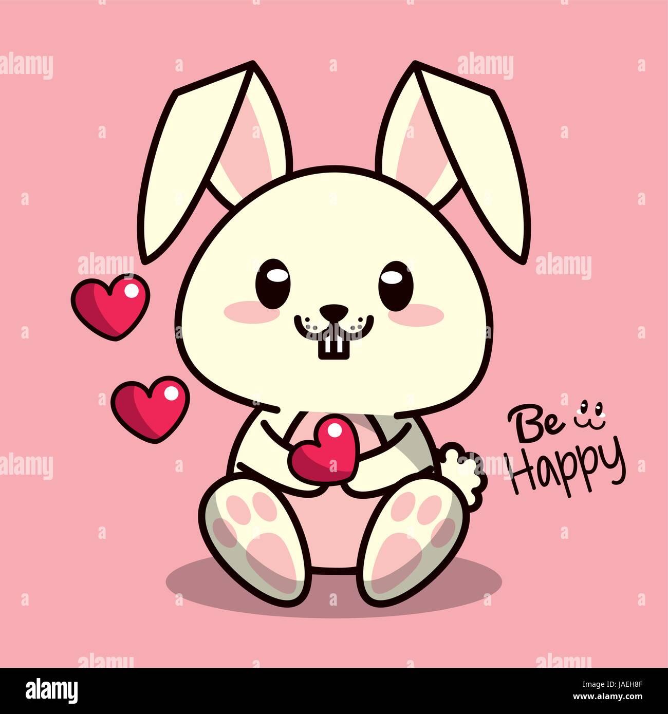 Colore Rosa Sfondo Con Simpatici Animali Kawaii Coniglio Con Cuore