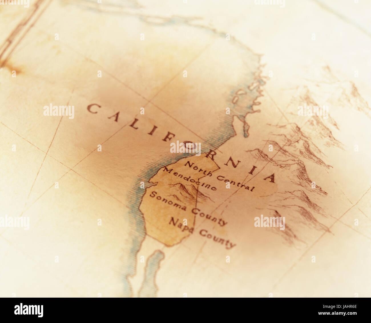 Disegnata a mano Mappa della California con le regioni del vino Immagini Stock