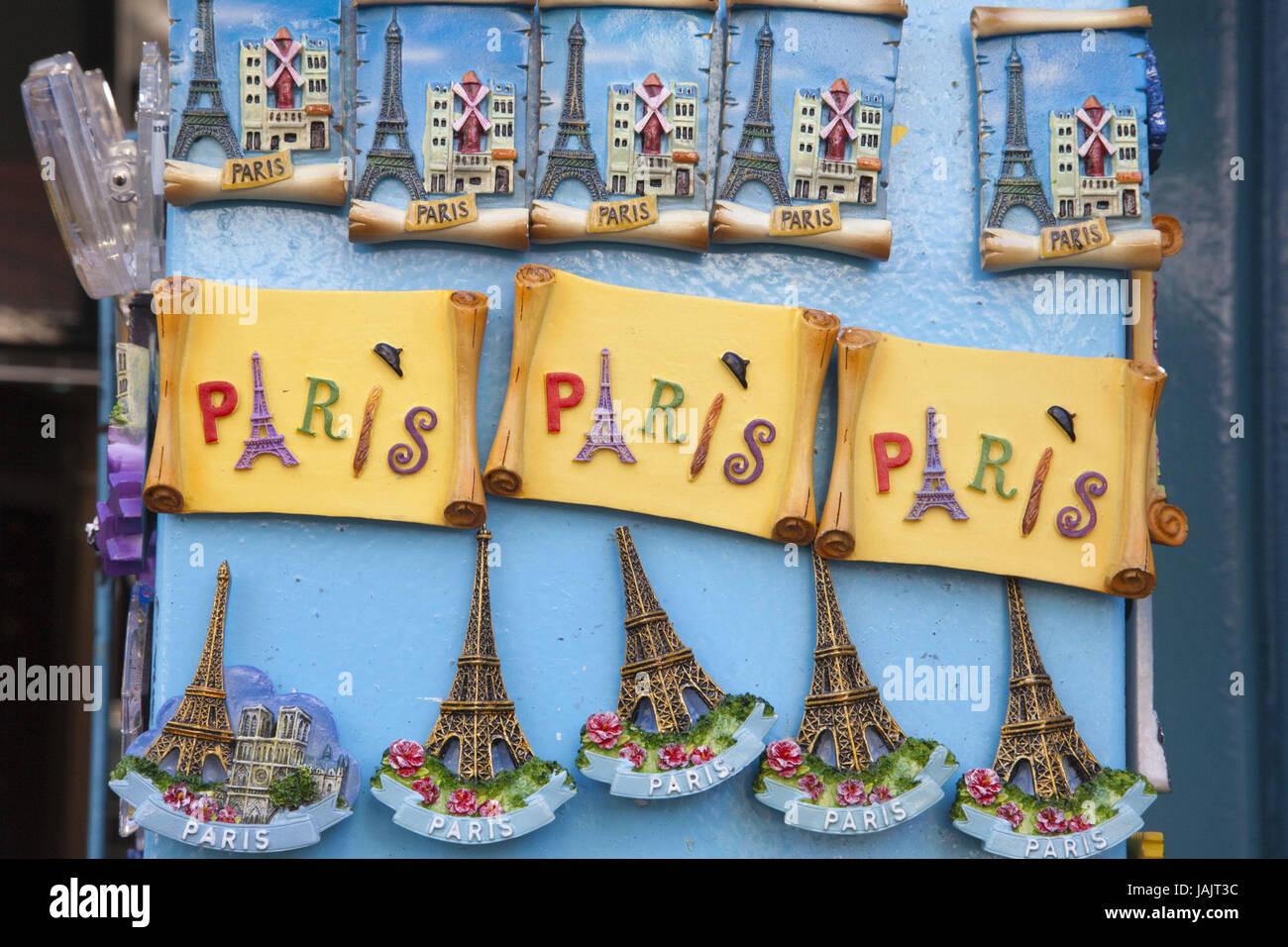Francia,Parigi,souvenir,magneti per il frigo,Parigi luoghi di interesse, Foto Stock