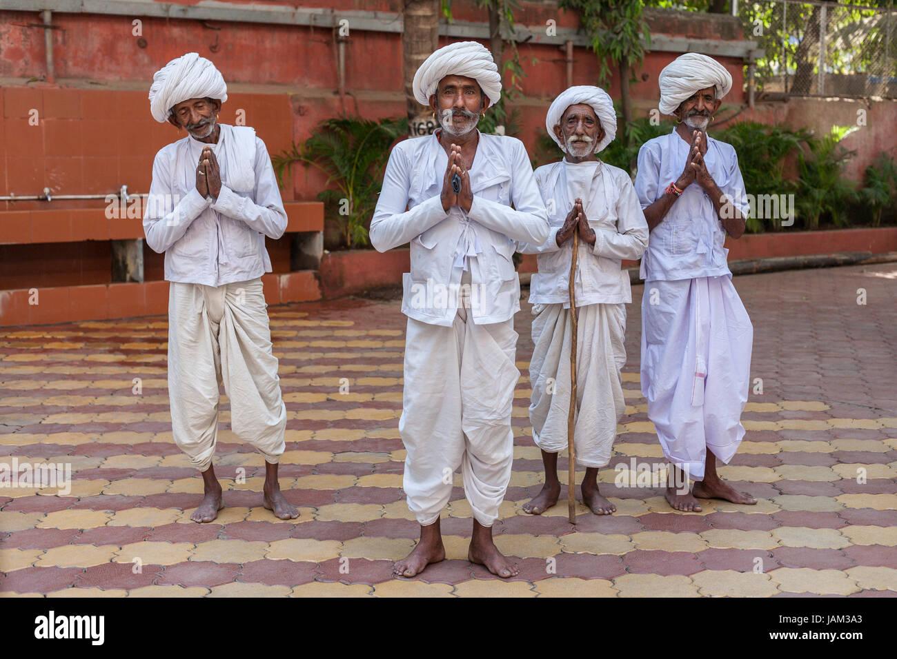 Gli uomini di Rajasthani in Mumbai, India Immagini Stock