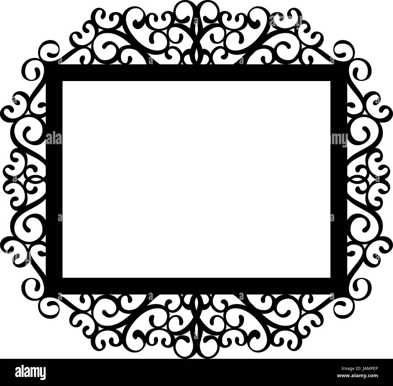 Cornice Decorativa Silhouette In Nero Isolato Su Sfondo Bianco