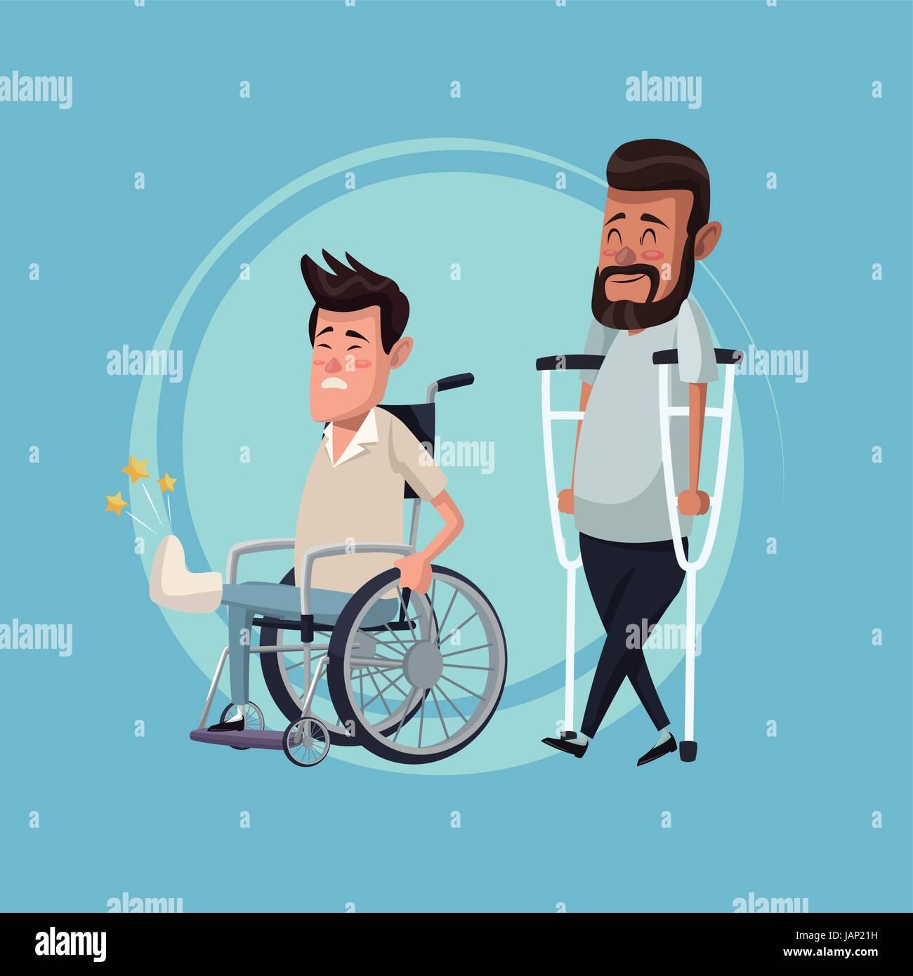 Colore di sfondo impostato gli uomini in sedia a rotelle e