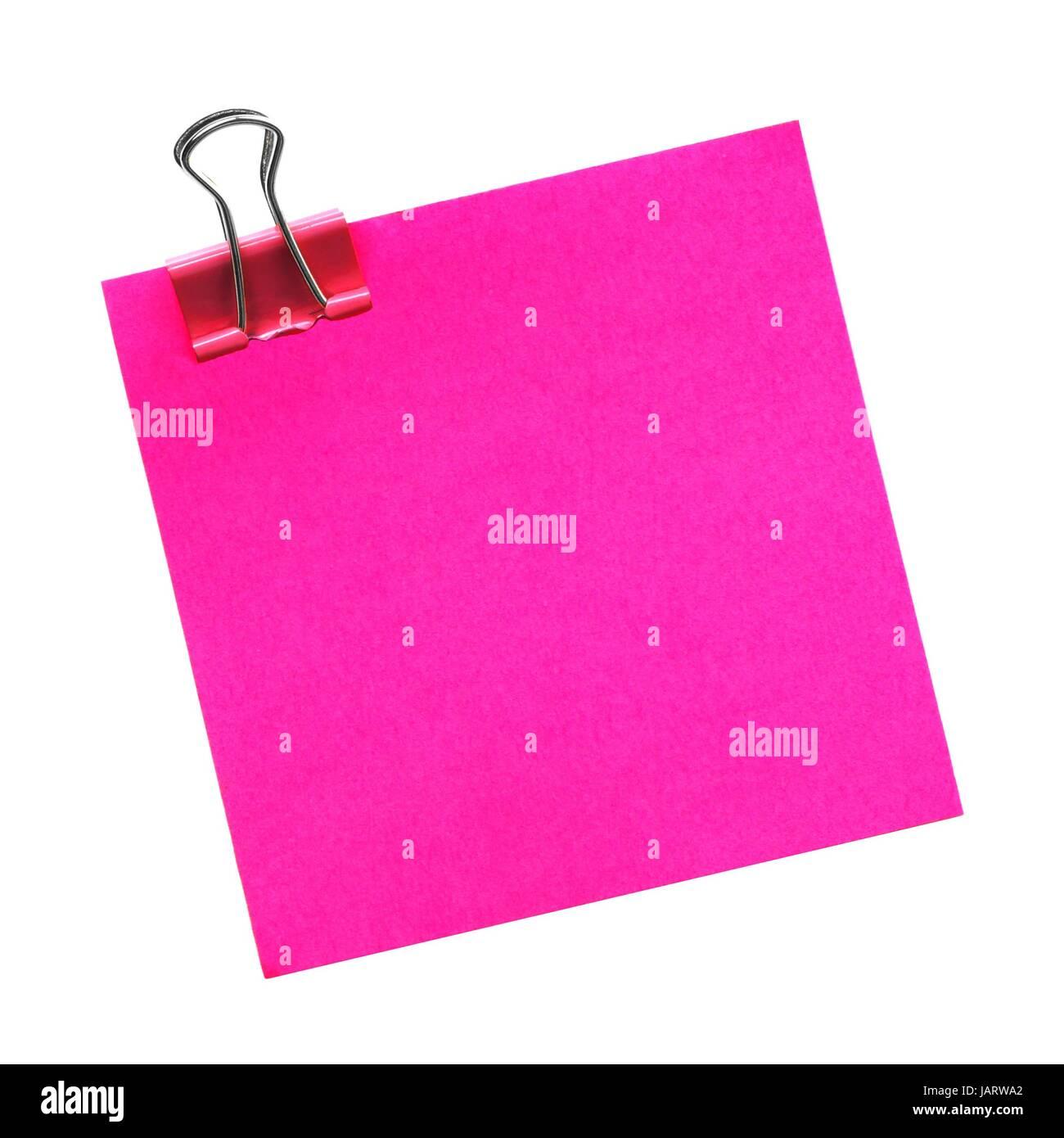 Rosa Bianco una nota adesiva con fermaglio isolato su uno sfondo bianco Immagini Stock