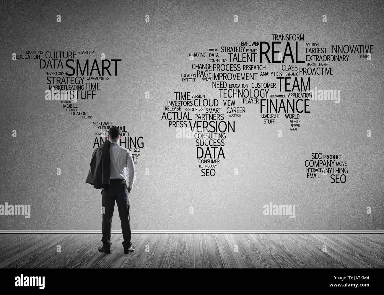 Concetto di globalizzazione e di networking con business mappa del bus Immagini Stock