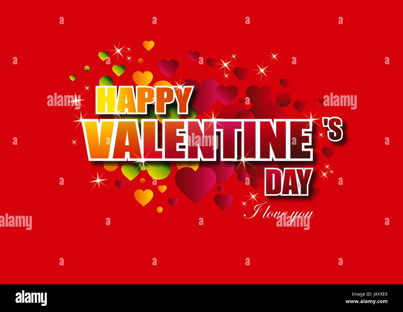 Buon San Valentino scritte biglietto di auguri su sfondo rosso, illustrazione vettoriale Immagini Stock