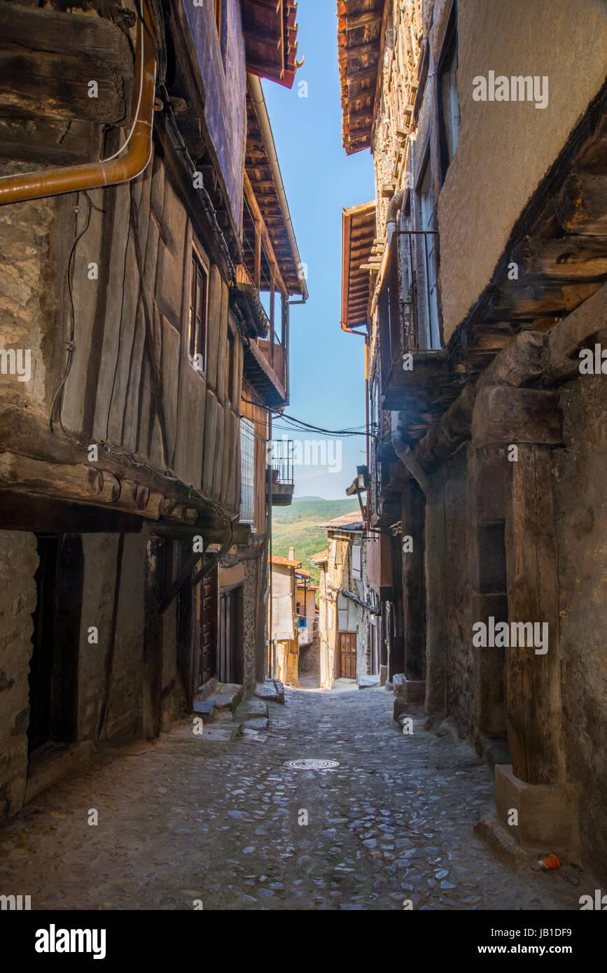 Street. Miranda del Castañar, Sierra de Francia Riserva Naturale, provincia di Salamanca, Castilla Leon, Spagna. Immagini Stock