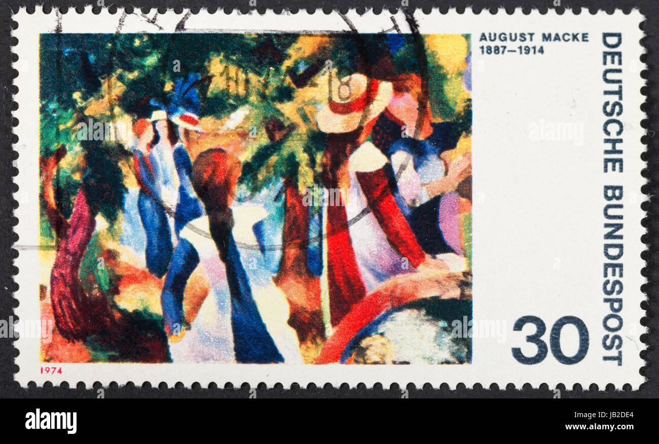 Repubblica federale di Germania - circa 1974: un francobollo stampato in Germania ovest mostra pittura ragazze nella Immagini Stock
