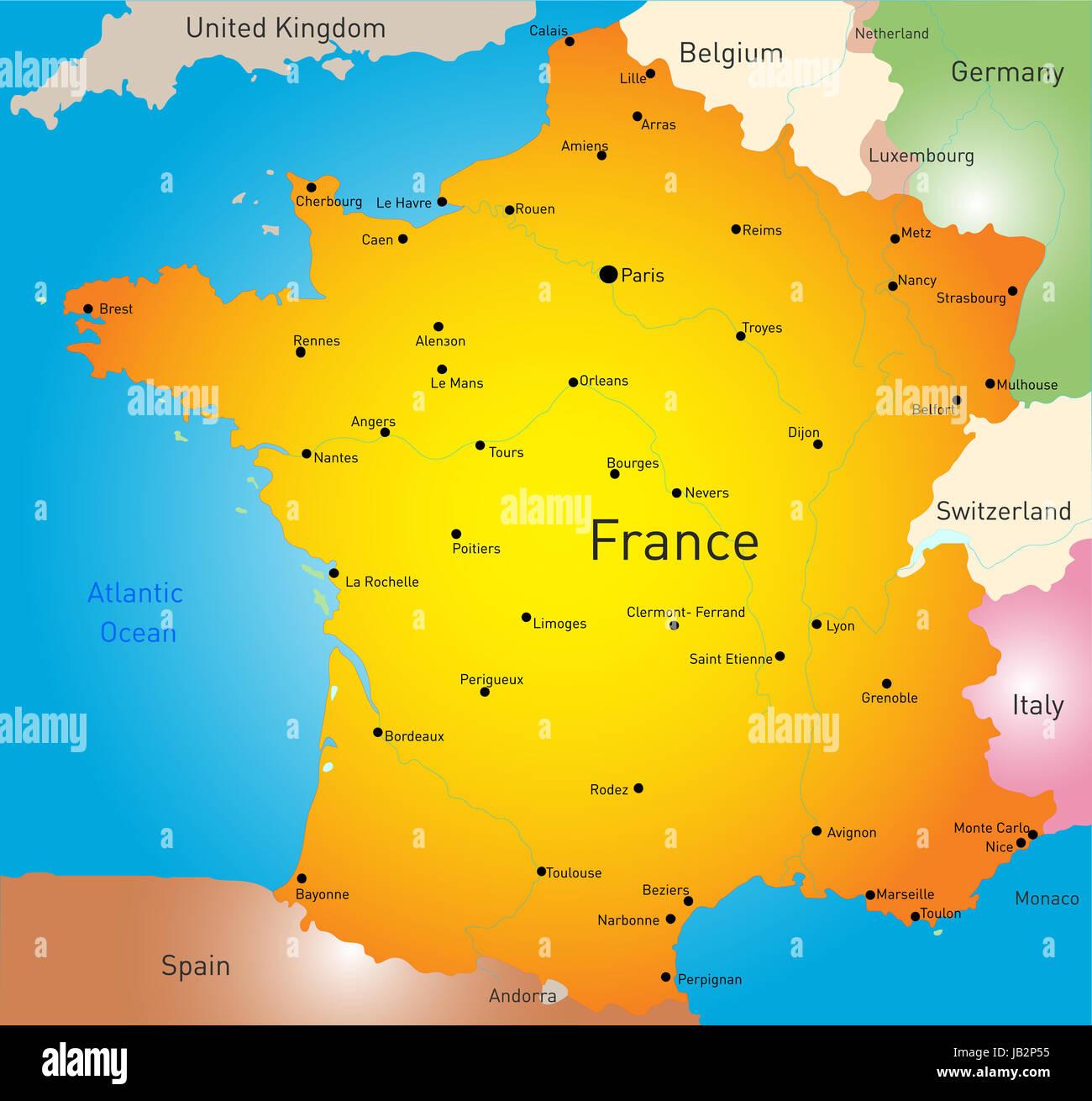 Cartina Francia Tolosa.Vettore Mappa A Colori Del Paese Francia Foto Stock Alamy