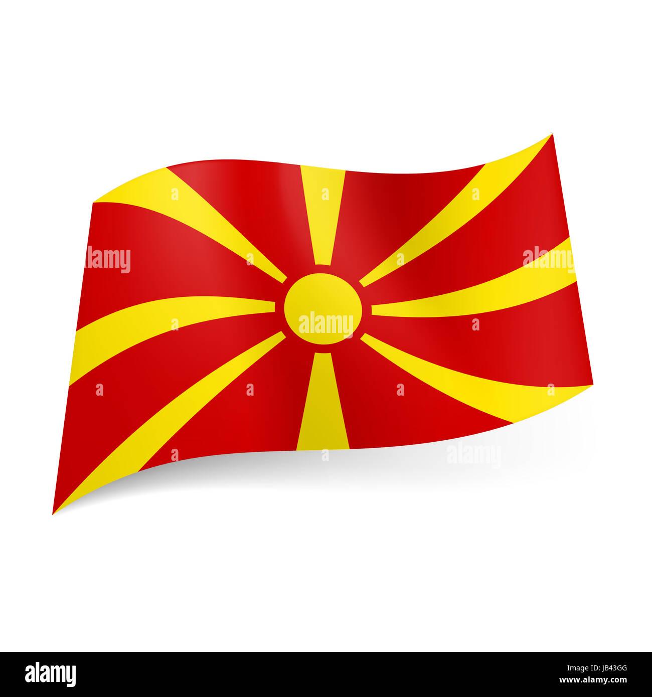 Bandiera Nazionale Della Macedonia Sole Giallo Su Sfondo Rosso Foto
