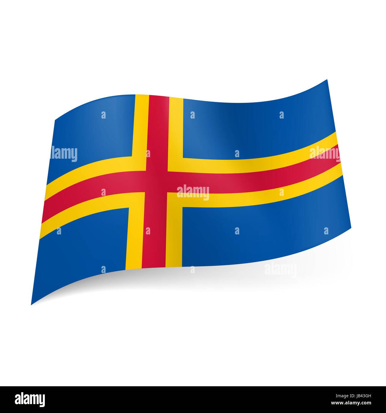 Bandiera Delle Isole Aland Rosso E Croce Gialla Su Sfondo Blu Foto
