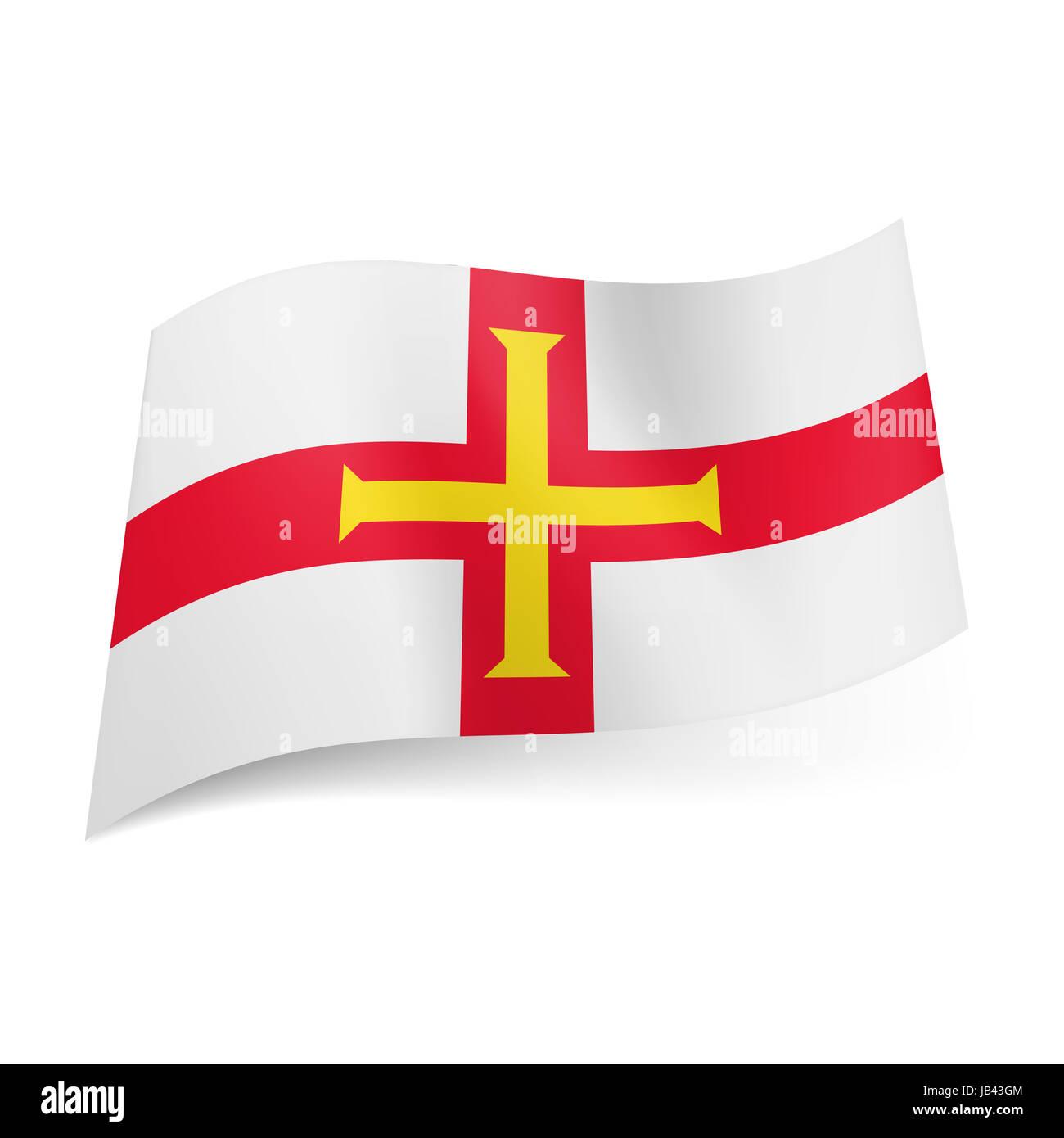 Bandiera Nazionale Di Guernsey Giallo Allinterno Della Croce Rossa