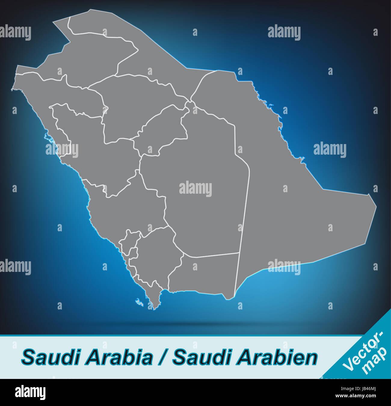 Saudi-Arabien in Asien als Grenzkarte mit Grenzen durch die ansprechende Gestaltung fügt sich die Karte perfekt Immagini Stock