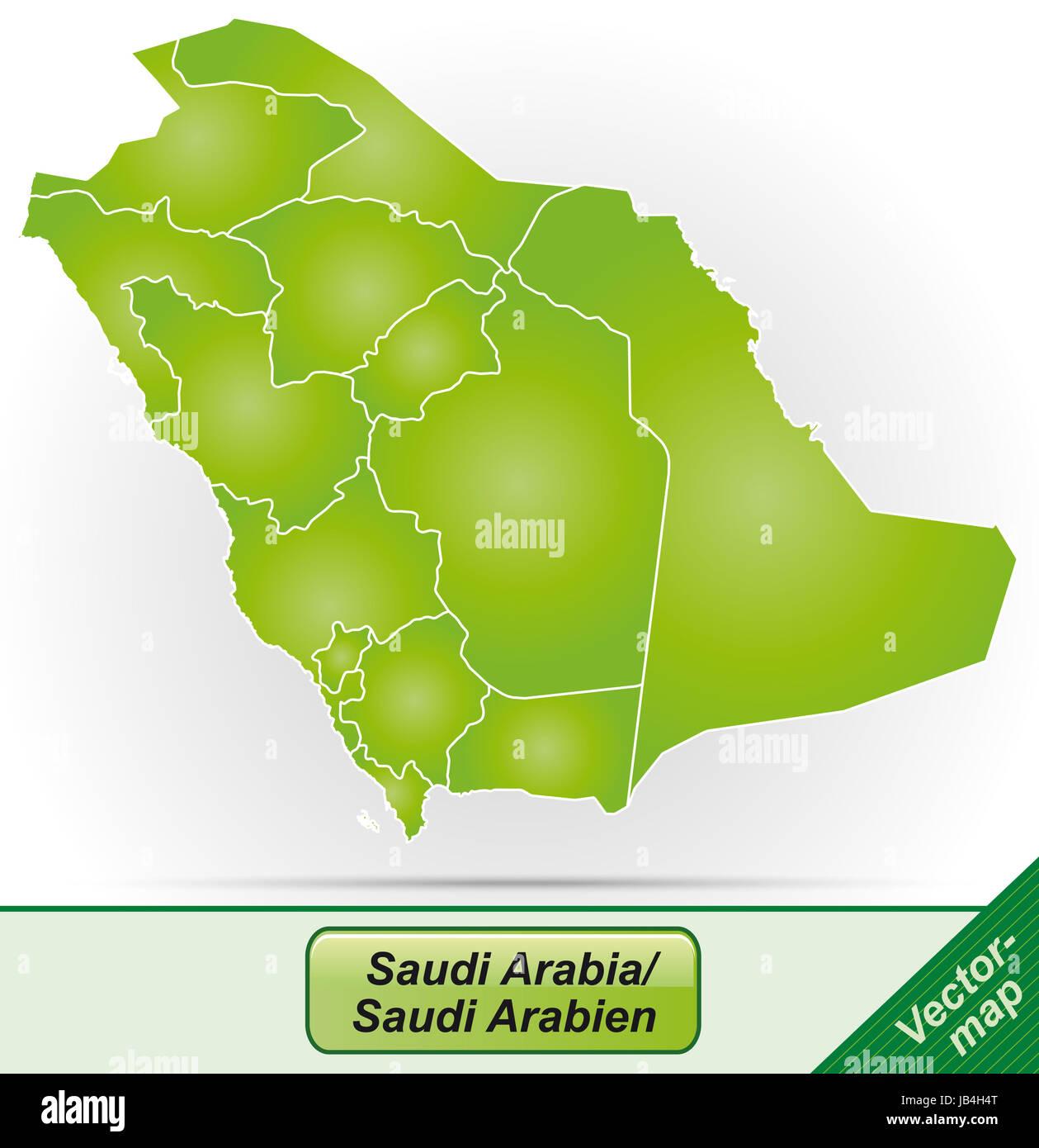 Saudi-Arabien in Asien als Grenzkarte mit Grenzen in Grün. Durch die ansprechende Gestaltung fügt sich Immagini Stock