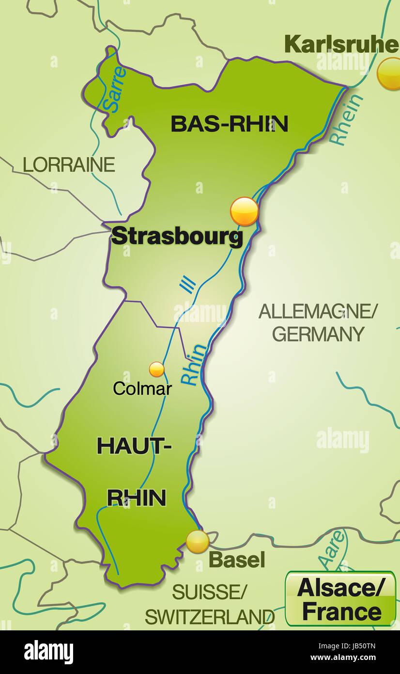 Elsass Karte Frankreich.Elsass In Frankreich Als Umgebungskarte Mit Nachbarländern Mit