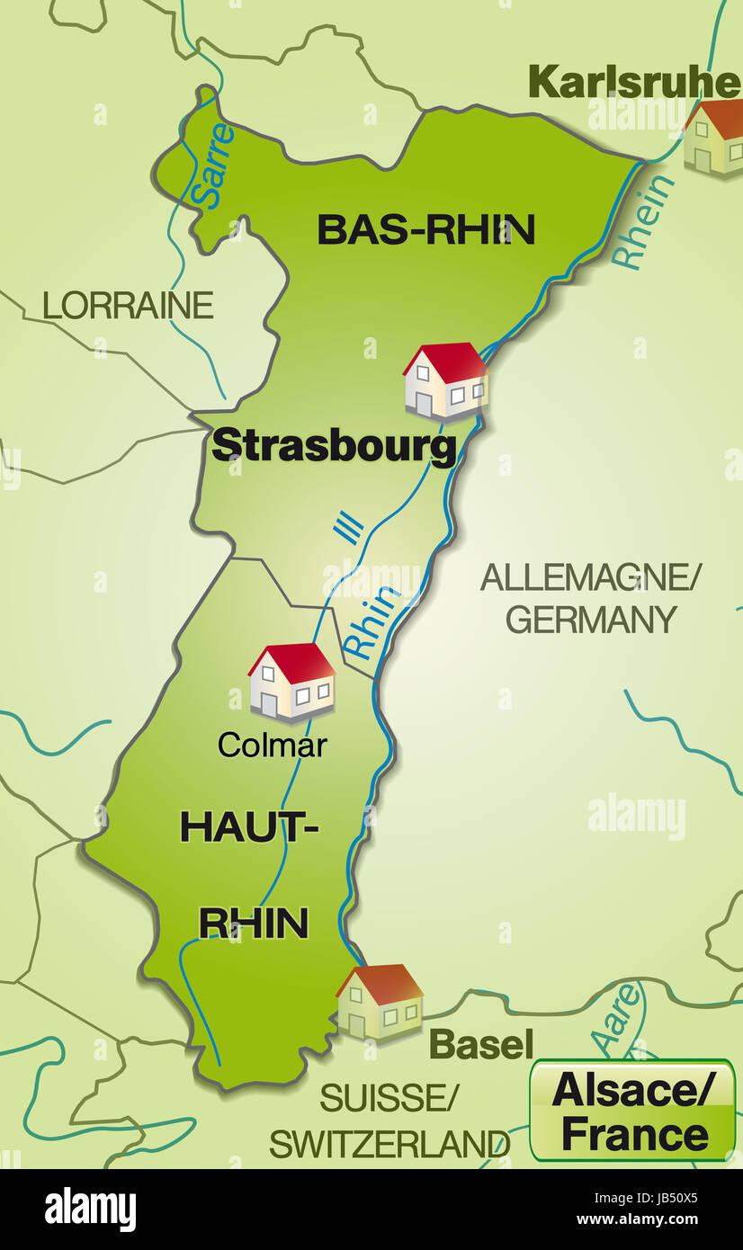 Karlsruhe Karte Umgebung.Elsass In Frankreich Als Umgebungskarte Mit Nachbarländern Mit