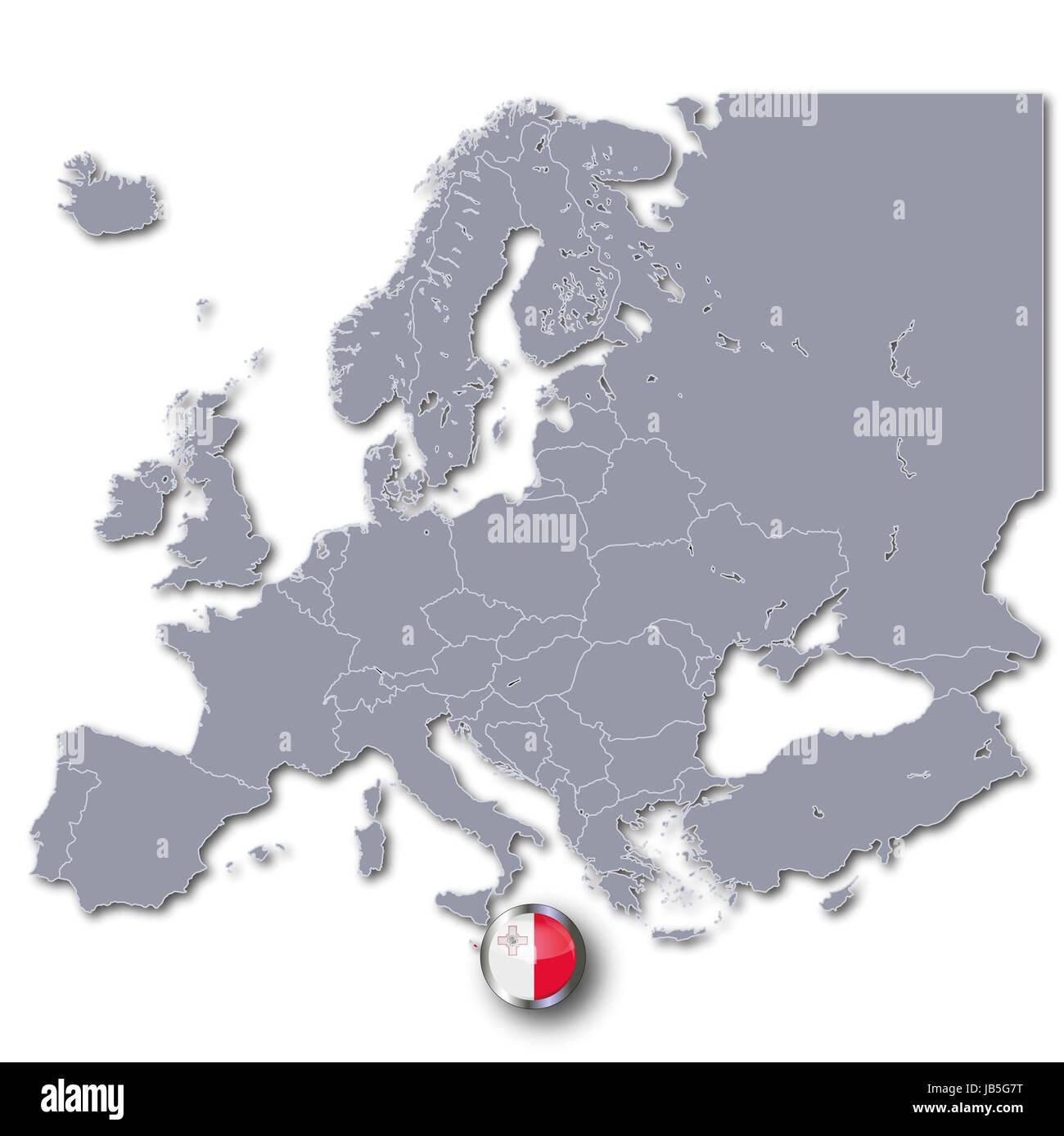 Isola Di Malta Cartina Geografica.Mappa Di Europa Con Malta Foto Stock Alamy