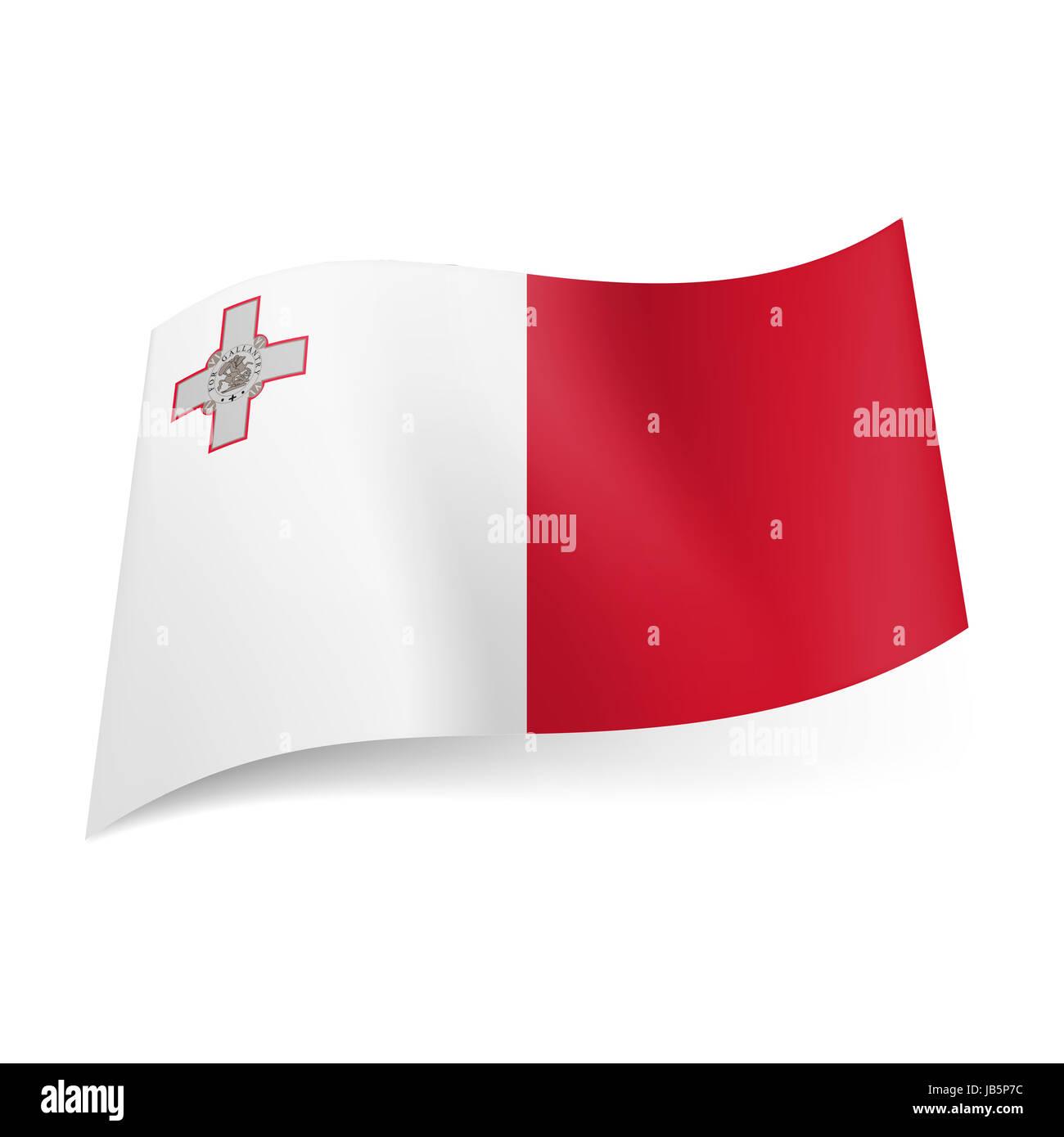 Bandiera Nazionale Di Malta Bianco E Rosso Campi Verticali Con La