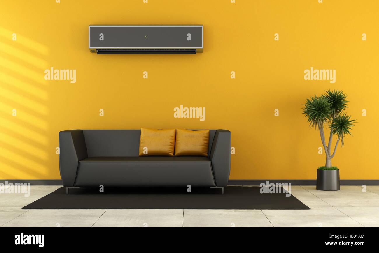 Divano Nero Moderno : Soggiorno moderno con divano nero e il condizionatore d aria sulla