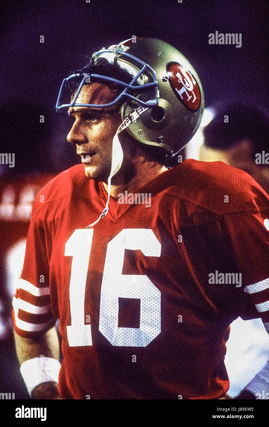 Joe Montana San Francisco 49ers quarterback al 1989 Super Bowl Immagini Stock