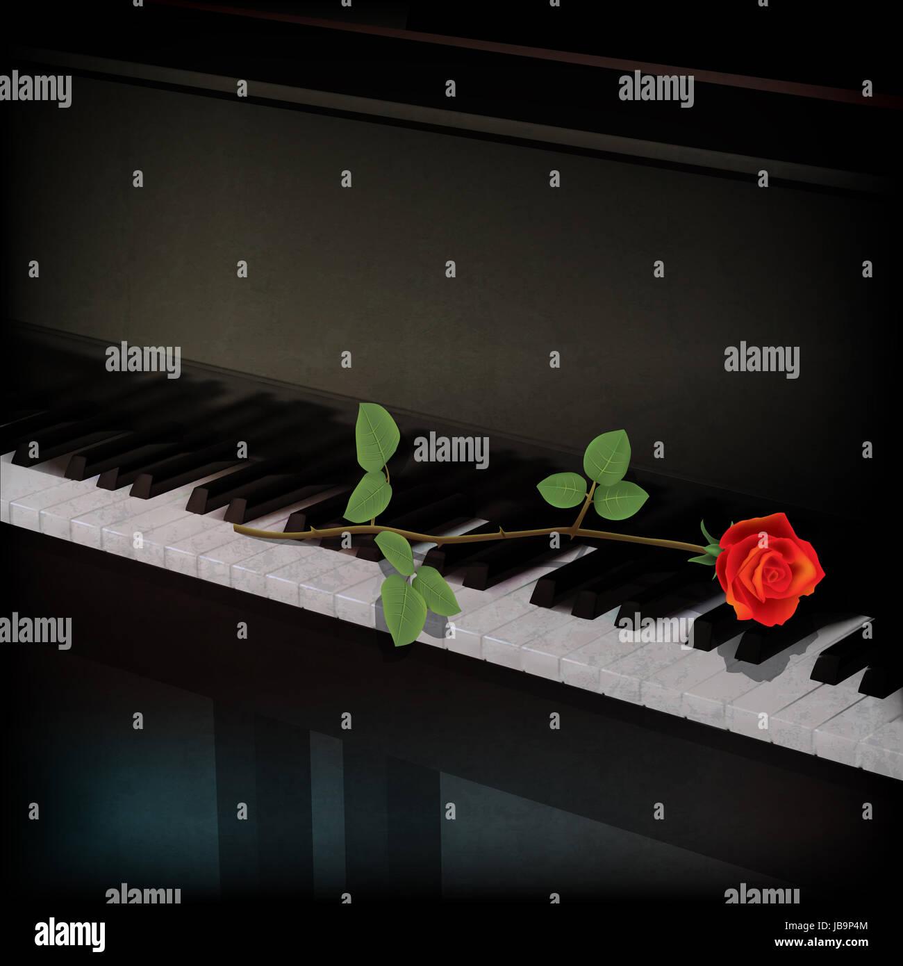 Abstract Grunge Sfondo Con Una Rosa Rossa Sul Pianoforte Foto