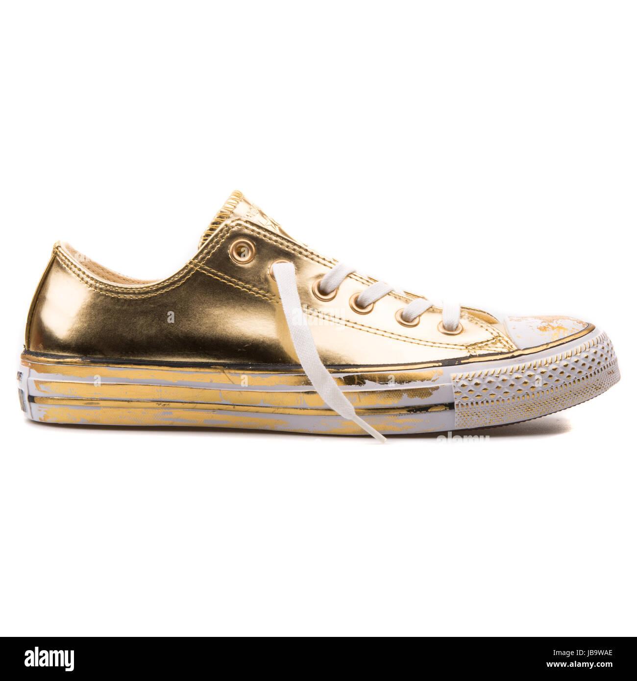 Converse Chuck Taylor All Star al cromo Pelle Oro e Bianco OX ...