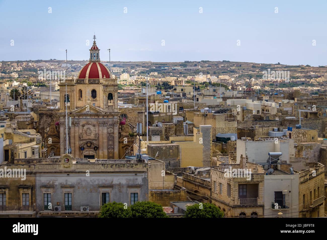 Victoria city con San Giorgio Basilica vista dalla Cittadella - Victoria, Gozo, Malta Immagini Stock