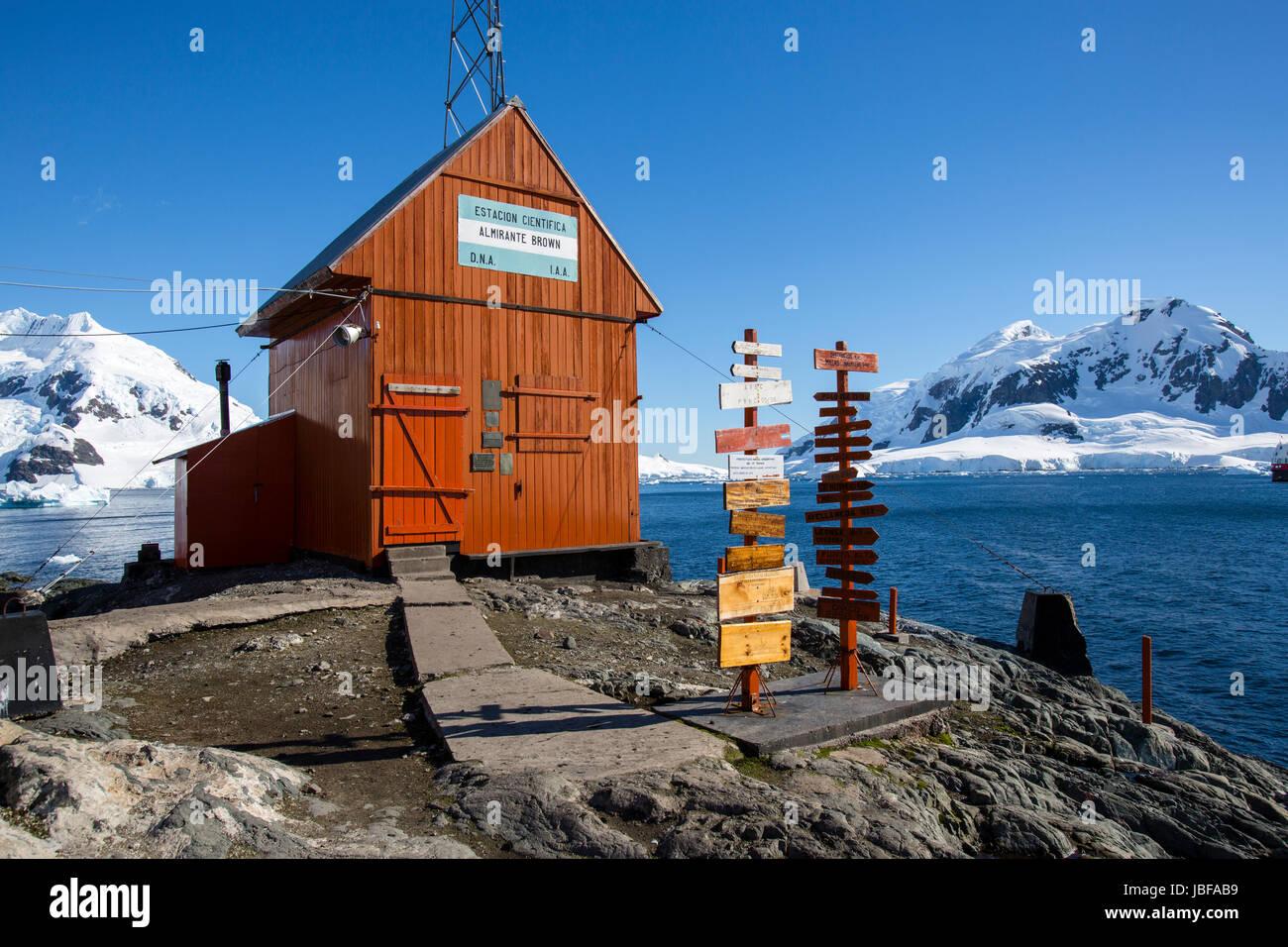 Almirante Brown Argentina stazione di ricerca, Antartide Immagini Stock