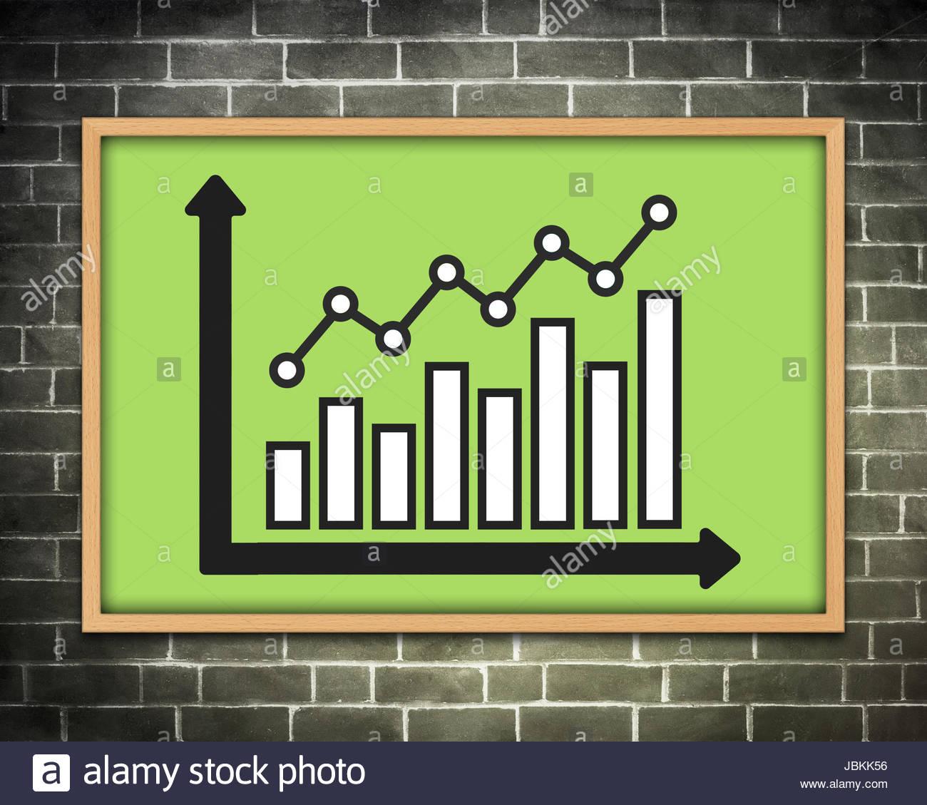 Statistica grafico della lavagna Immagini Stock