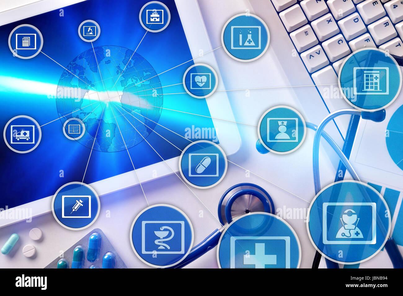 Schema di comunicazione dei settori della medicina e della globalizzazione online Immagini Stock