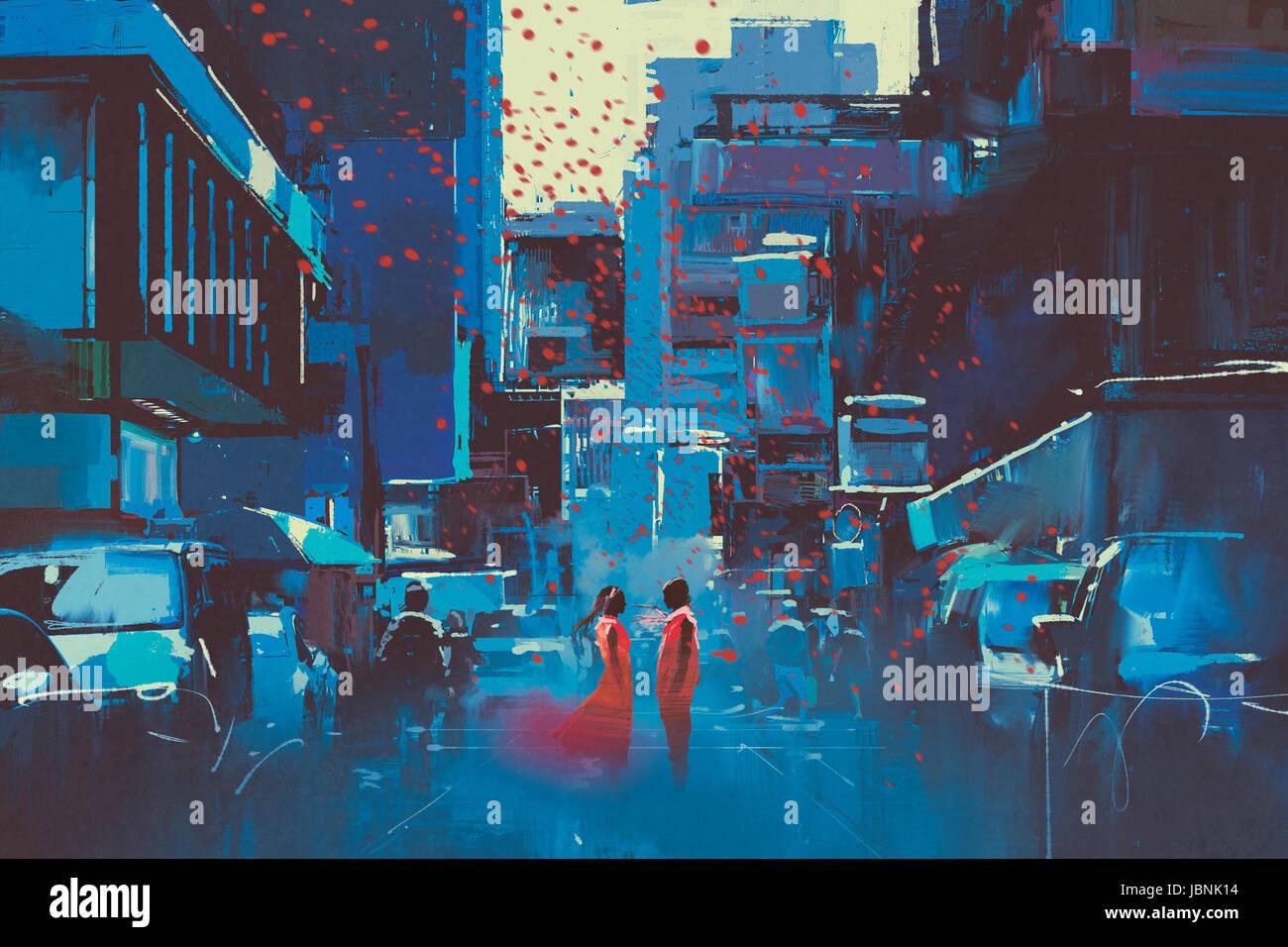 L uomo e la donna in rosso in piedi in città blu con arte digitale stile, illustrazione pittura Immagini Stock