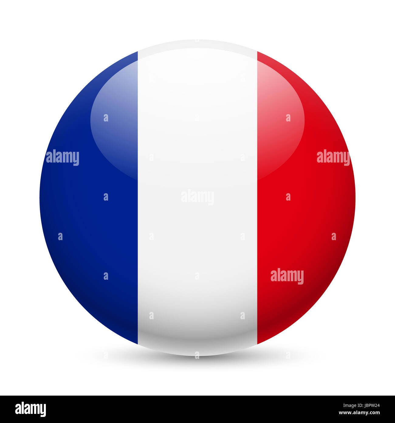 Bandiera Della Francia Come Round Icona Lucida Pulsante Con