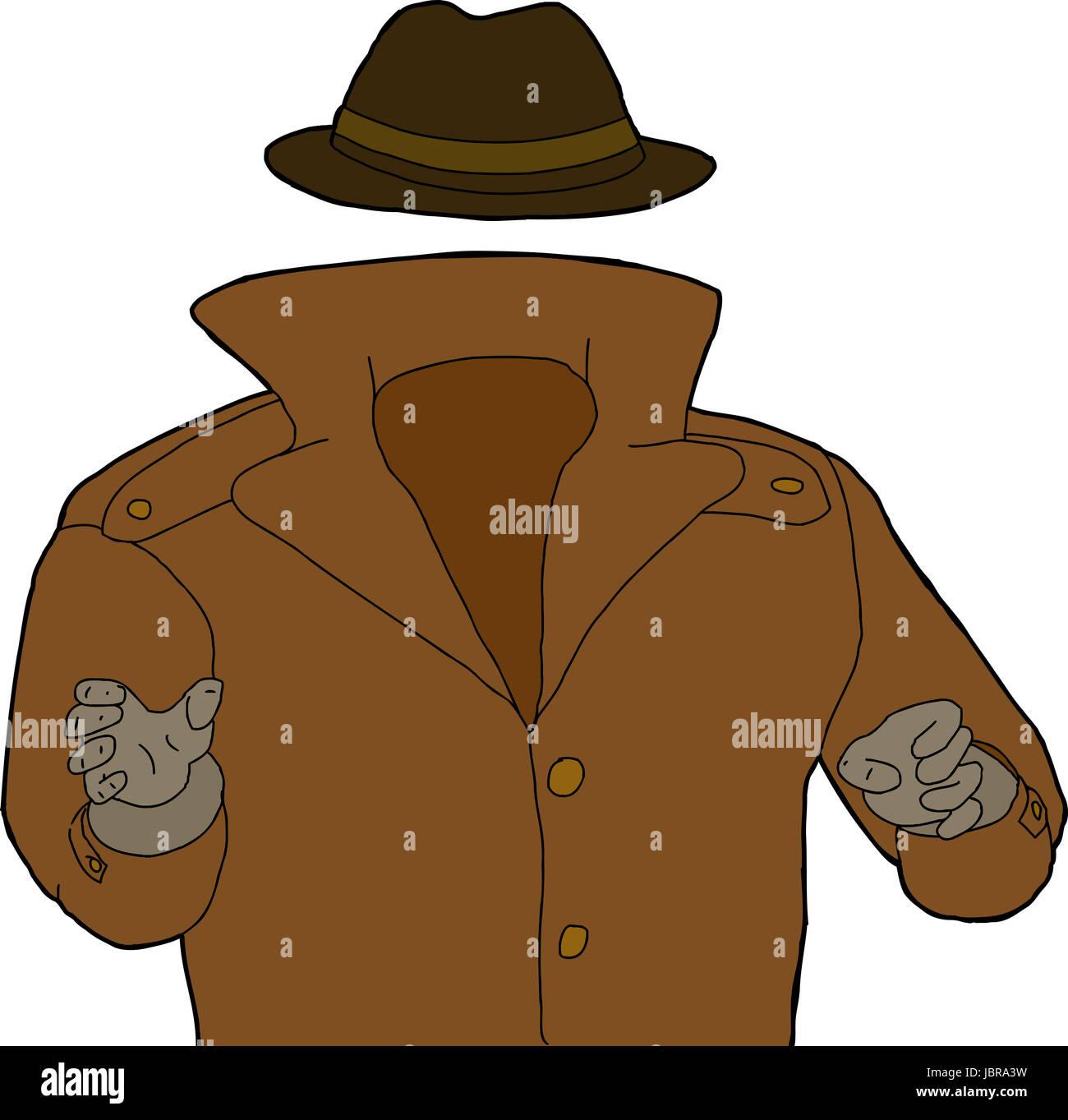 Cartoon di trench coat e hat intorno all uomo invisibile foto