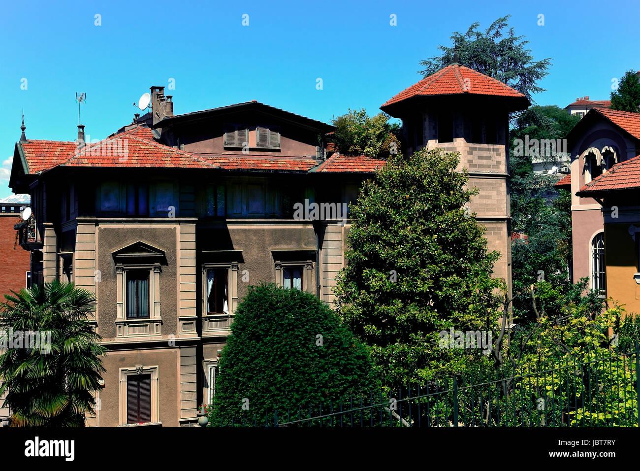 Villa in stile Liberty. Crimea borough, Po borough. Borgo Crimea, Borgo Po. Torino Piemonte, Italia Immagini Stock