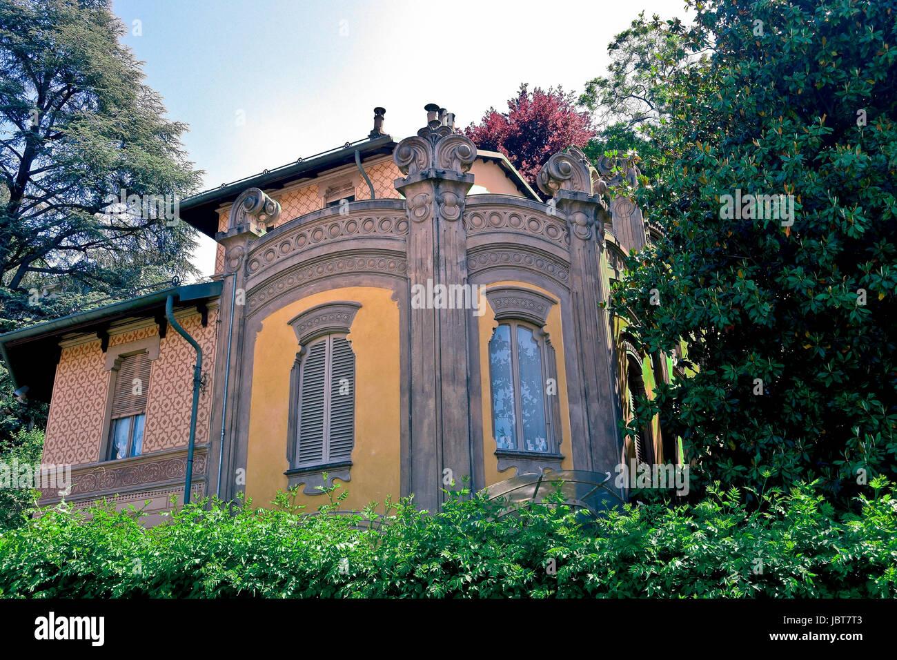 Villa Scott, stile liberty. Posizione filmato per film profondo rosso di Dario Argento. Crimea borough, Po borough. Immagini Stock