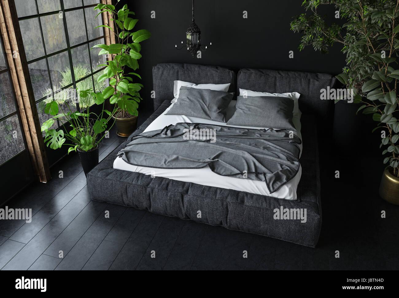 Letto king size in colori scuri in camera da letto con il nero di ...