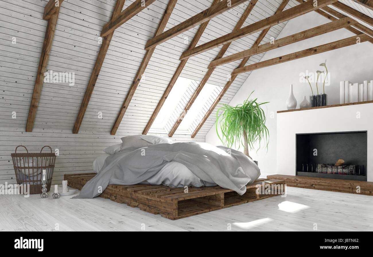 Camere Da Letto Design Minimalista : Concetto di mansarda camera da letto con pareti bianche interni