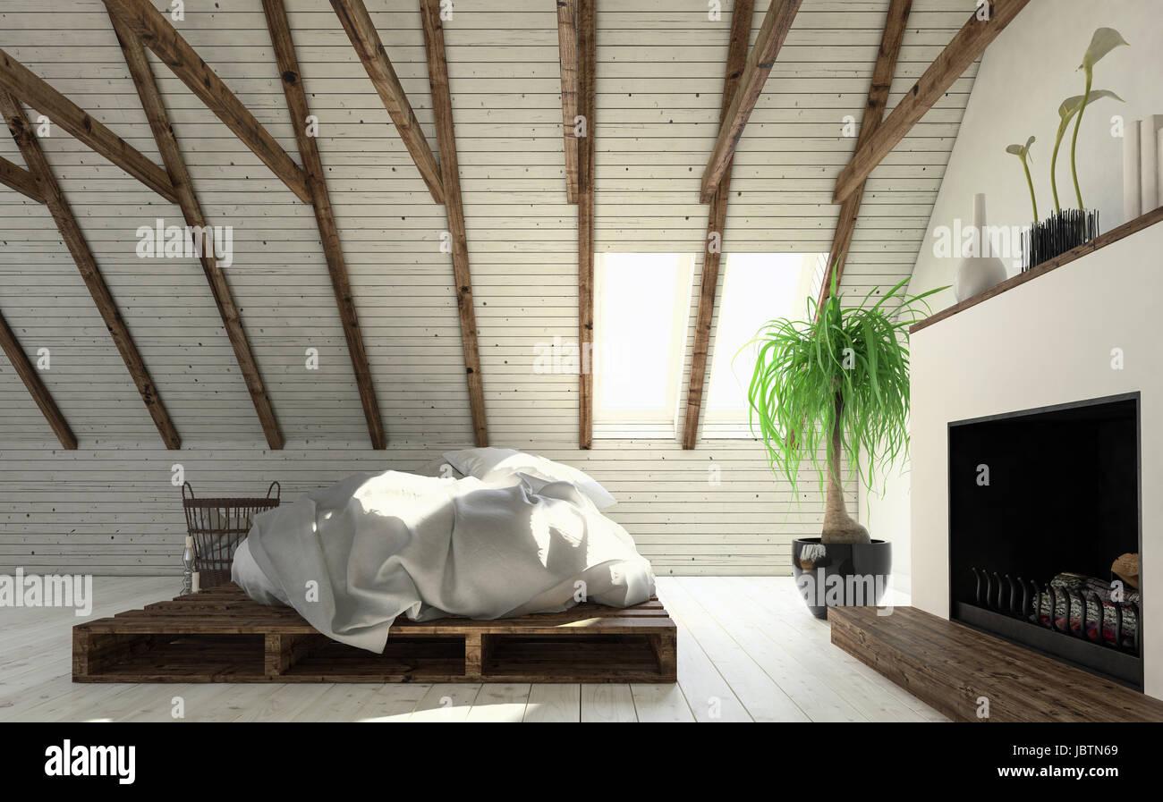 Camere Da Letto Design Minimalista : Luce mansarda camera da letto in bianco minimalista di design di