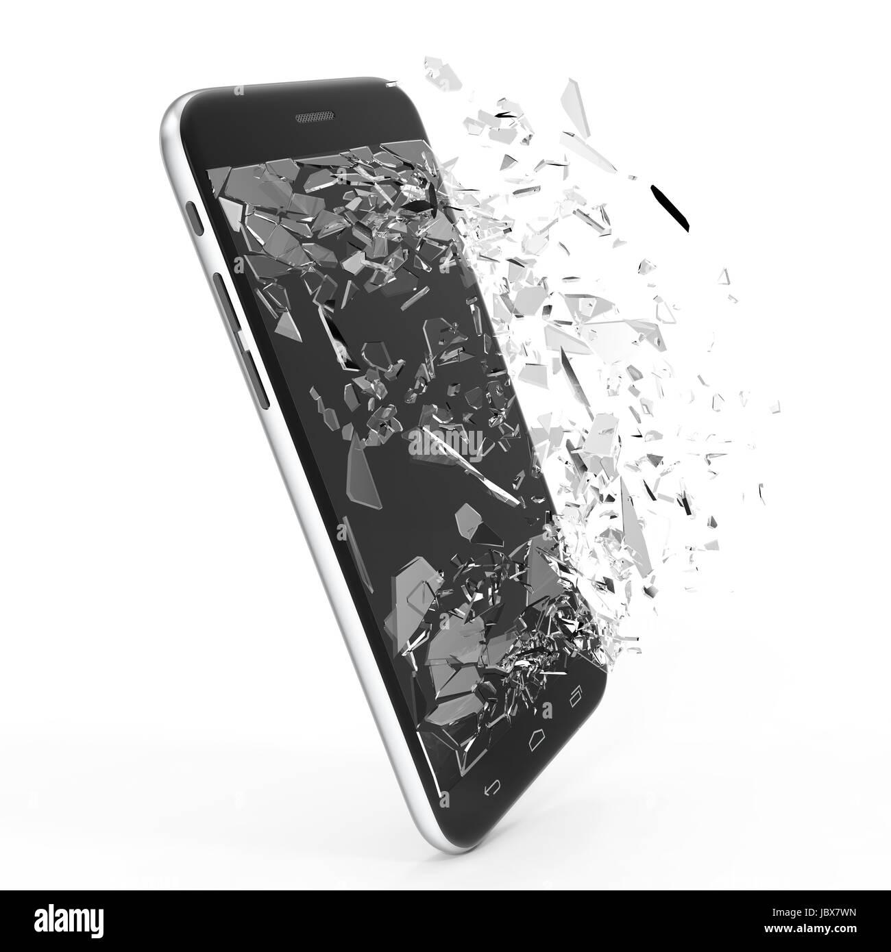 Telefono Con Schermo Rotto Isolati Su Sfondo Bianco Per Il Vostro