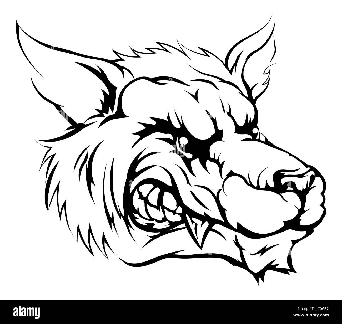 Un bianco e nero illustrazione di un lupo feroce animale o personaggio  mascotte sportive Immagini Stock 5577b0b9edc9