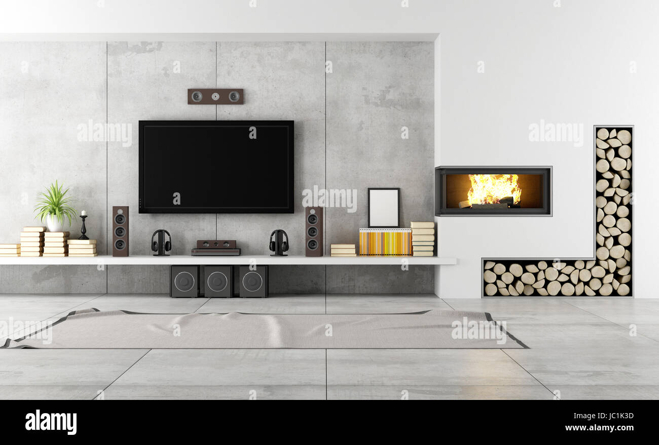 Soggiorno Moderno Con Camino soggiorno moderno con tv e camino - prestazione foto
