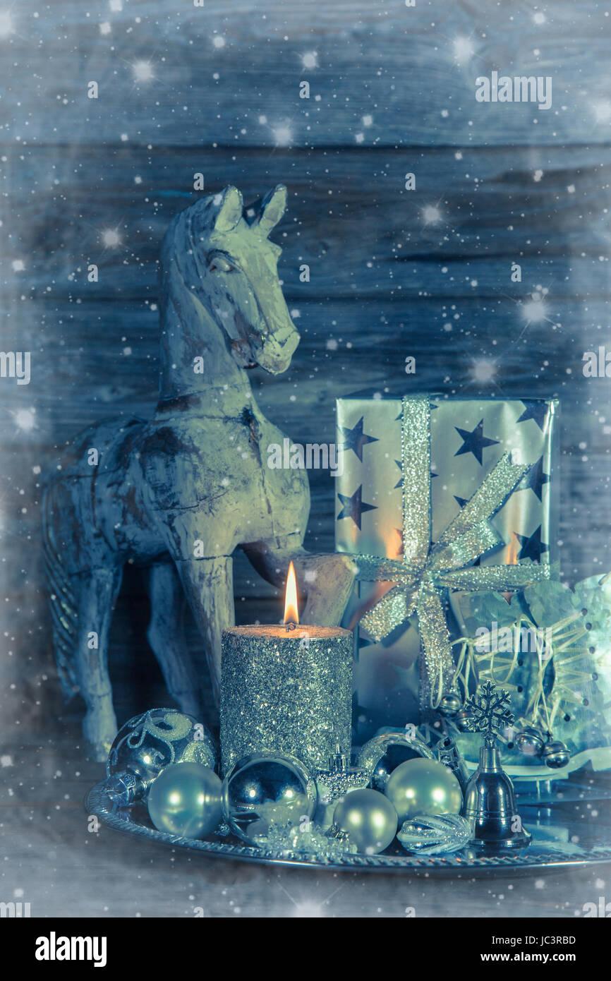 Immagini Di Natale Con Cavalli.Shabby Chic Decorazione Di Natale Con Cavallo Di Legno