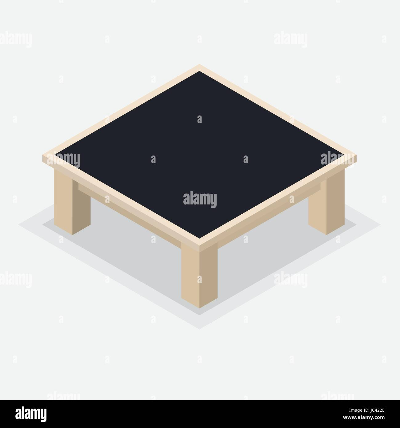 Isolato tavolo da caffè in legno. Tavolo quadrato e gambe corte isometrica stile su sfondo bianco - illustrazione vettoriale. Illustrazione Vettoriale